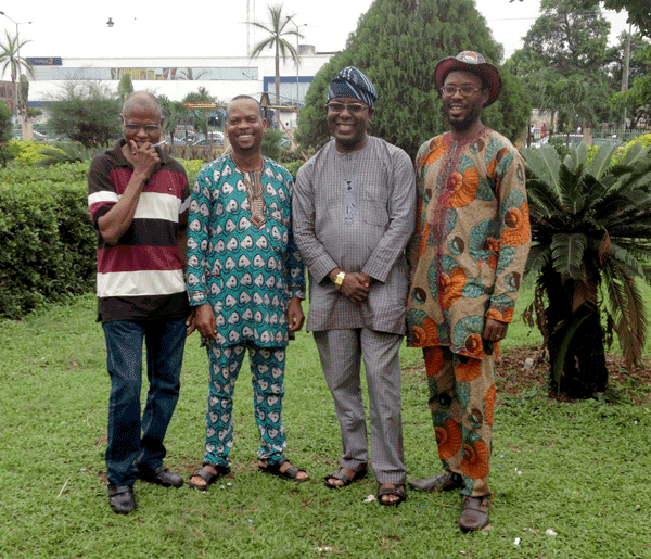 Our colleagues at the Benin Museum (l to r) : Benjamin Aiyamekhue Okpevbo, Chief Museum Education Officer Boniface Ojienon, Chief Curator, Documentation; Theophilus Umogbai, Assistant Director and Curator; and Ikhuehi Omonkhua, Assistant Chief Exhibition Officer. Photo by Paula Millet