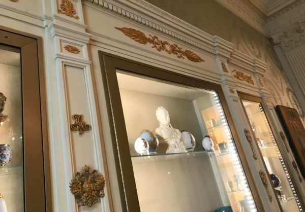 Original pieces adorning Hillwood's traditional collections case