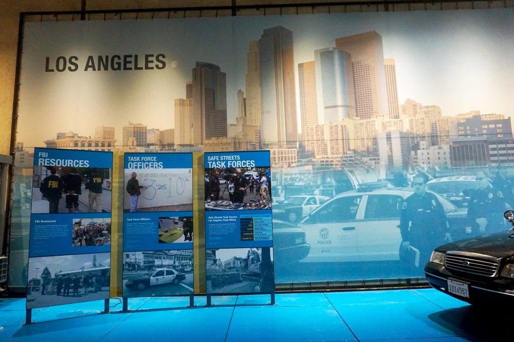 Mural of the Los Angeles skyline and police officers and museum panels.