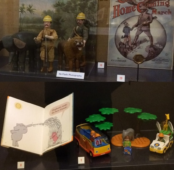 A composite image shows action figures, a children's book, and sheet music, including images of elephants.