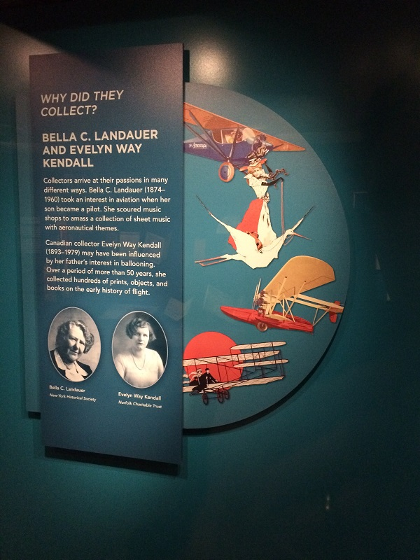 "A text panel titled ""Why Did They Collect?"" includes two black-and-white portraits of women and colorful illustrations of airplanes."