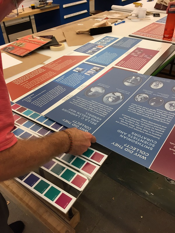 A man looks at a series of graphic panels laid out on a table next to color swatches.