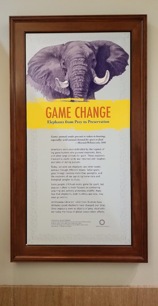 "A text panel with an illustration of an elephant and the title ""Game Change"""