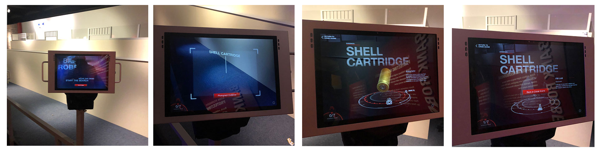 AR screens showing the progression of finding evidence in the bank robbery scene