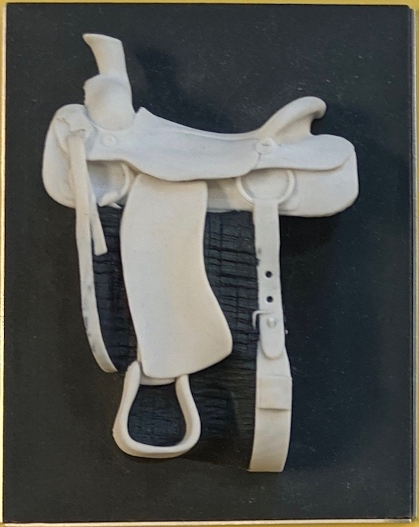 A white 3D model of a saddle with a black background