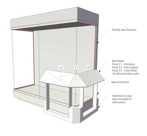A drawing of a reader rail structure attached to the corner of a display case. The reader rail has three angled panels at the top and attaches to the base of the display case.