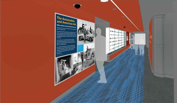 A design rendering showing transparent human figures in a red hallway with graphic panels and a backlit display case. The carpet is gray with blue tread marks on it.