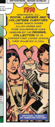 A comic panel showing three inauguration gowns worn by First Ladies.