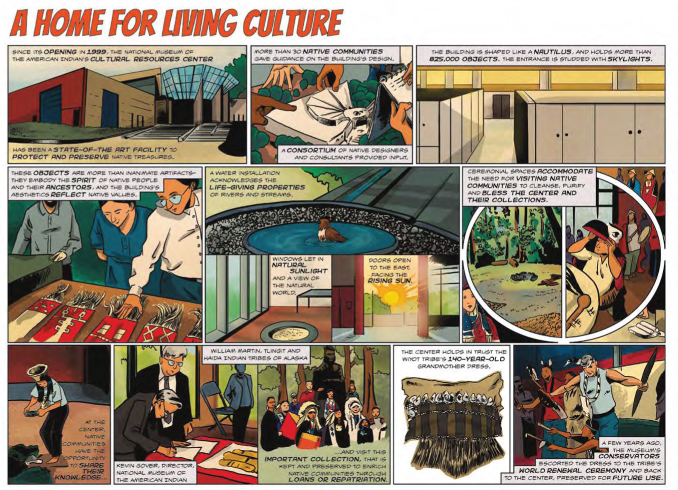 comic panel about the National Museum of the American Indian Cultural Resources Center